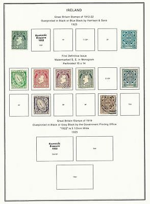 Ireland Collection 1923-1954 on 12 Album Pages, Mint & Used