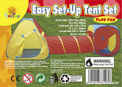 popup play tent 3pc tunnel adventure fort with carry bag play hut SHIP FROM USA