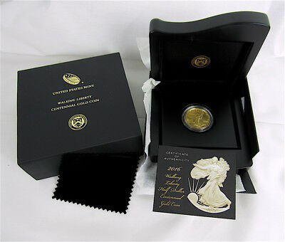 2016-W Walking Liberty Half Dollar Centennial Gold Coin In Us Mint Package