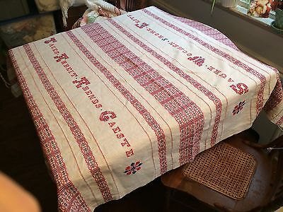 "antique linen red WORK hand stitched embroidery woven tablecloth 58""x62"" square"