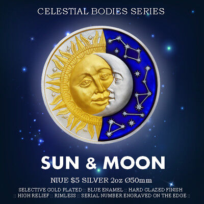 Niue 5$ 2017 Silver 2oz Ø50 SUN & MOON Second coin from Celestial Bodies series
