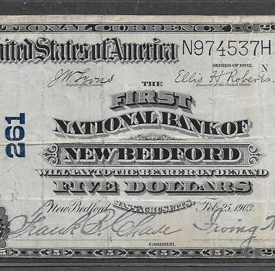 1902 $5 New Bedford, MA. #261 PB National Bank Note