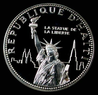 1977 Silver Haiti Proof 100 Gourdes Statue Of Liberty Rare Only 214 Minted