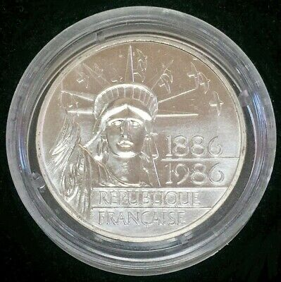 DOUBLE SILVER PIEDFORT THICK 1986 France 100 Francs Statue Of Liberty Coin