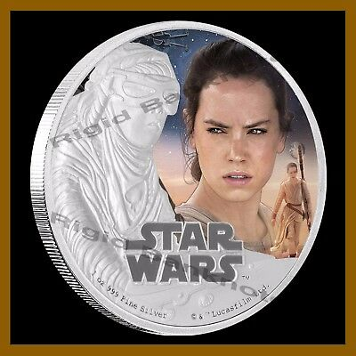 Star Wars $2 Proof 1 Oz Silver Coin, 2016 Rey (The Force Awaken) W/COA