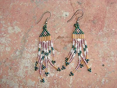 Vintage Delicate Pink/peacock Green/white Glass Beaded Earrings Iridescent