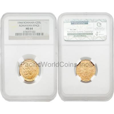 Romania 1944 Romanian Kings 20 Lei Gold NGC MS64 SKU#3354