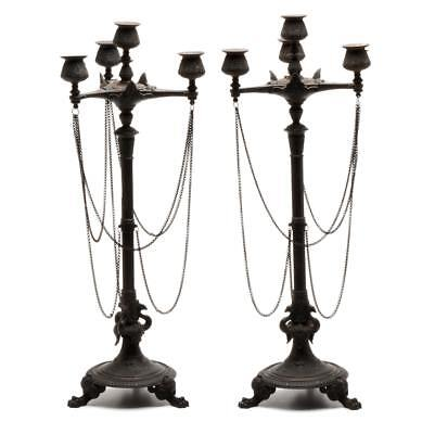 """Pair of French Style 4 Light Candelabras 22"""""""
