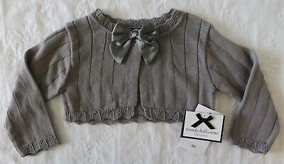 New 18 M Wendy Bellissimo Baby Girl Gray Dressy Cardigan Sweater w/ Bow Month