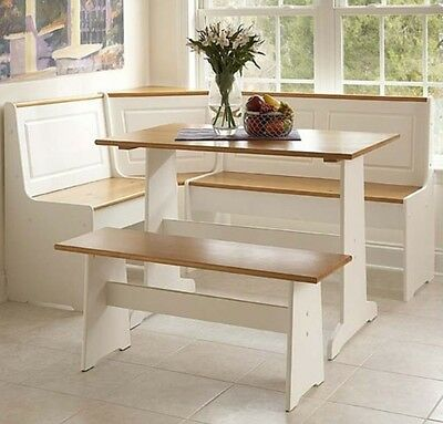 White Kitchen Corner Nook Set Breakfast Table Bench 3 Pc Booth Dining Room Pine