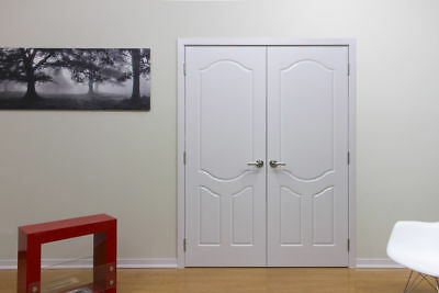 "60"" x 80"" WHITE HIGH QUALITY DOUBLE INTERIOR WOOD DOOR WITH FRAME NON PRE-HUNG"