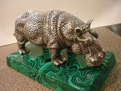 "(REDUCED) Sterling Silver Hippopotmus 7.5"" Very Detailed on Malachite Base"