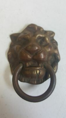 "A Heavy Vintage Brass Door Knocker - Lion Head 3.25"" tall"
