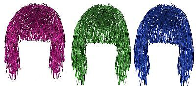 Pink Green & Blue Set of 3 Fancy Dress Shiny Metallic Foil Tinsel Wigs Costume