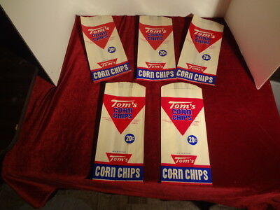 "5 Unused Vintage ""tom's Corn Chips"" Wax Paper Advertising Bags"