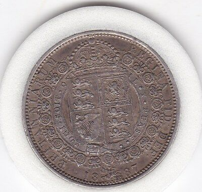 Sharp  1887   Queen  Victoria  Half  Crown (2/6d) - Sterling  Silver Coin