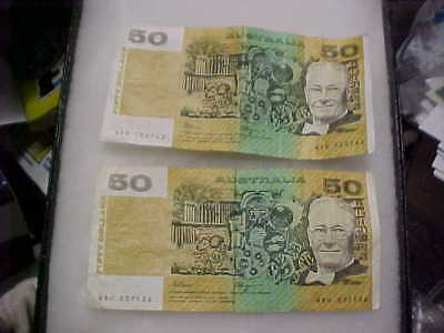 2pc. lot Australia Fraser Higgins $50 Fifty Dollar Banknote Paper Money Currency