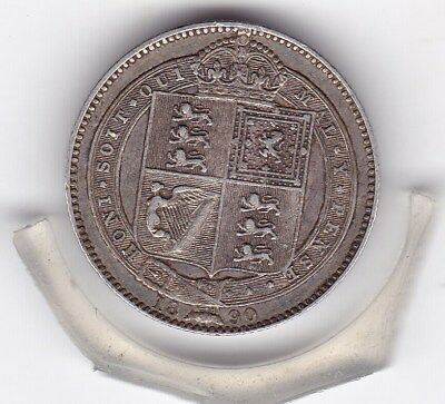 1890   Queen  Victoria  Sterling  Silver  Shilling  British Coin