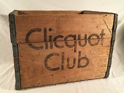 Vintage CLICQUOT CLUB Wood Crate Box Soda Wooden Eskimo Boy Advertising