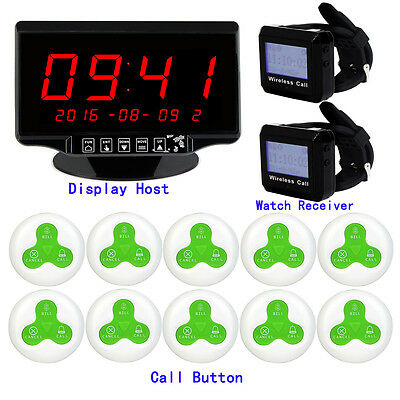 Wireless Restaurant Calling Paging System Receiver Host+2x Watch+10x Call Button