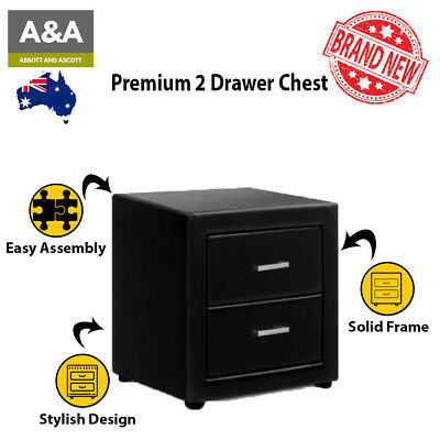 .0Bedside Table with 2 Drawers | PREMIUM QUALITY | PVC Leather Plywood Black