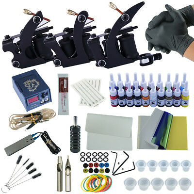 Complete Tattoo Kit Professional 3 Tattoo Machines 20 Inks Apprentice Gun Set