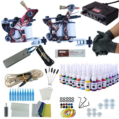 Complete Tattoo Kit 2 Tattoo Guns Machines Power Supplies 4/6/20/40/54 Inks Sets