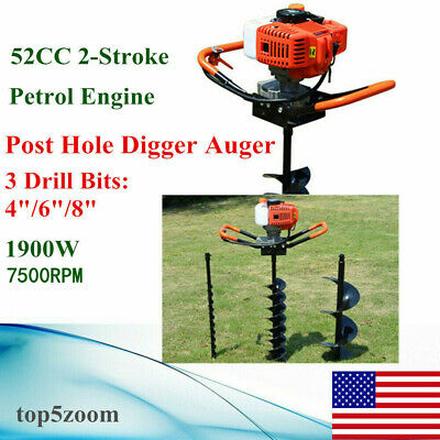 """52CC 2-Stroke Gas Powered Post Hole Digger Auger Borer Fence Drill+4""""/6""""/8"""" Bits"""
