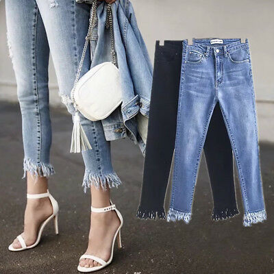 Womens Ladies Celeb Stretch Ripped Skinny High Waist Denim Pants Jeans 6-14