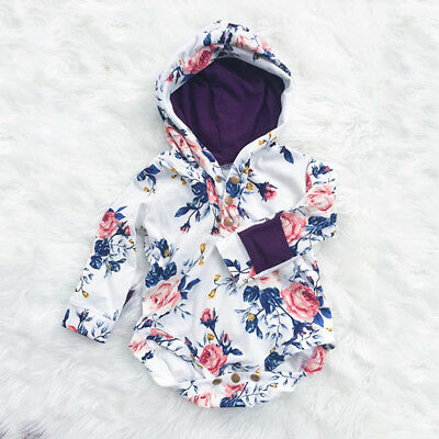 Newborn Baby Infant Girls Flower Romper Hooded Jumpsuit Bodysuit Outfits Clothes