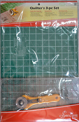 """Quilters 3pce Set, A3 Cutting Mat, Rotary Cutter, 12""""x6.5"""" Patchwork Ruler"""