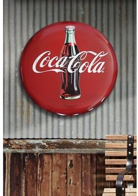 Coca Cola Sign Vintage Large Tin Round Button Retro Metal Wall Art Old Decor