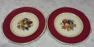 BURLEIGH WARE PLATE X2 RED BORDER FRUIT PATTERN GILDED RIM 1930s BURGESS & LEIGH