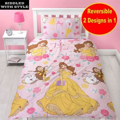 Kids Disney Princes Beauty And The Beast Reversible Single Duvet Pillow Case Set