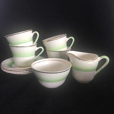 Vintage 1930s Art Deco Coffee Set for Four - Cup Saucer Cream China Green Stripe