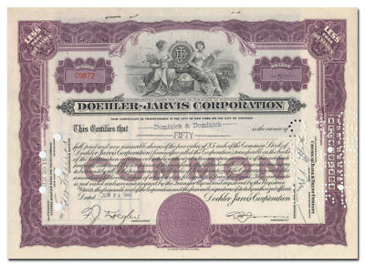 Doehler-Jarvis Corporation Stock Certificate