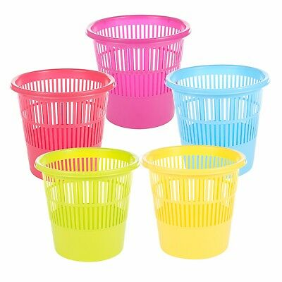 Large Colourful Plastic Waste Basket Home Metal Dustbin Rubbish Bins Trash NEW