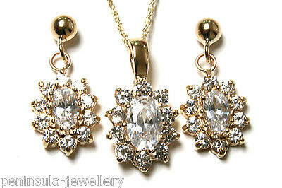 9ct Gold CZ cluster Pendant and Earring Set Made in UK Gift Boxed