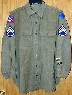 Vintage US Army WW2 NCO wool dress Shirt & tie, Staff Sgt with all patches