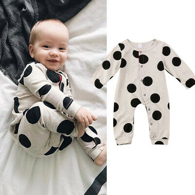 Newborn Infant Baby Boy Girl Spotted Romper Jumpsuit Bodysuit Clothes Outfit Set