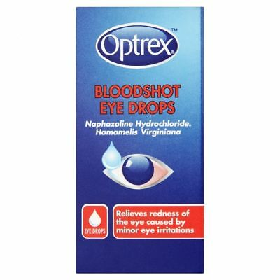 Optrex Bloodshot Eye Drops 10ml - Relief Red ness From Dust Smoke Swimming -