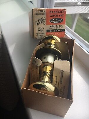 New Old Stock Lockwood Solid Polished Brass Latch Door Knob Set USA 11 Available
