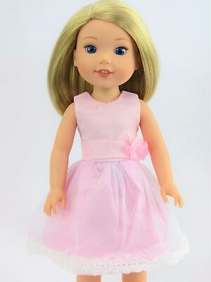"""Pretty Pink Dress Fits Wellie Wishers 14.5"""" American Girl Clothes"""