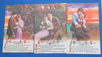 WW1 Bamforth Song Postcard 1910s x 3 IF YOU WERE THE ONLY GIRL IN No 4955/1/2/3