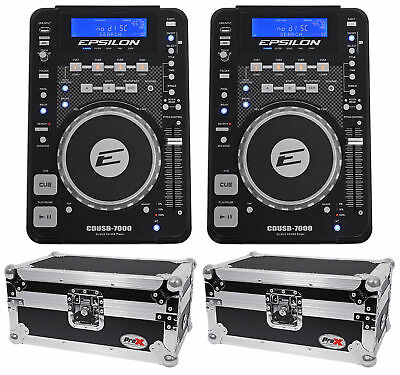 2) EPSILON CDUSB-7000 Tabletop DJ Scratch CD/MP3/USB Digital Turntables+2) Cases