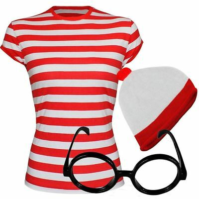 Ladies Girls Red and White Striped T-Shirt Glasses Hat Set Fancy Book Week Lot