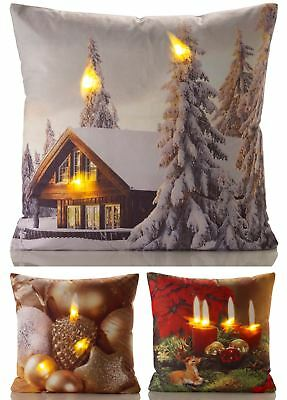 Christmas LED Cushion Cover Case Home Xmas Cabin Reindeer Gold Snow Winter New