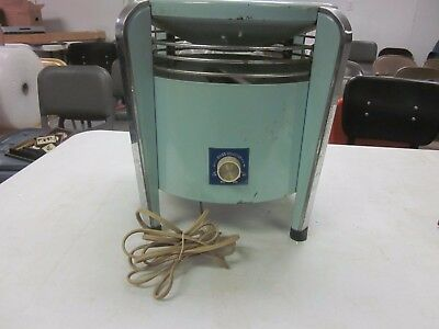Vintage Mid-Century  Hassock 2-Speed Electric Fan TURQUOISE ART DECO STYLE