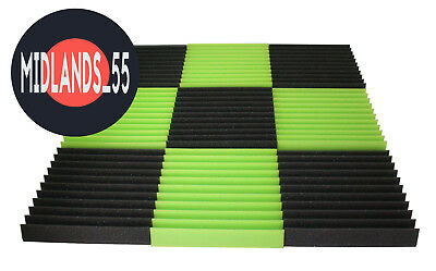 Green and Graphite Pro Acoustic Foam Wedge Tiles Pack Set Studio Room Treatment
