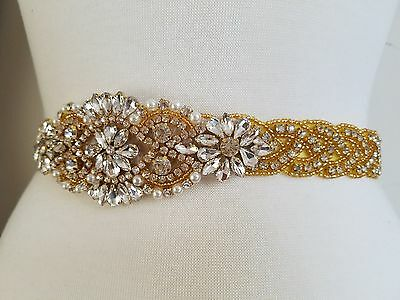 "Wedding Belt, Bridal Sash Belt - GOLD Crystal Pearl Wedding Sash Belt = 20"" long"